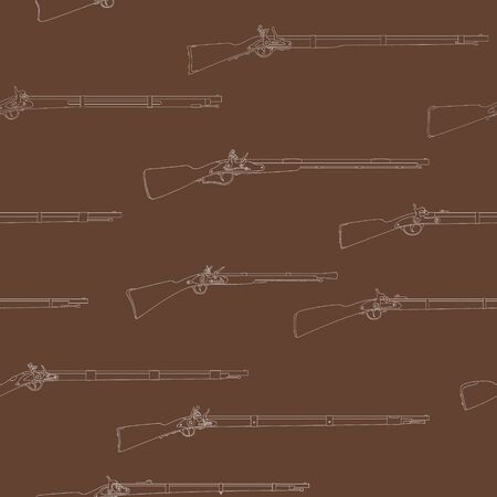 Seamless vector pattern with Antique Rifles