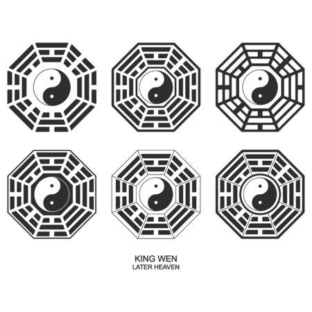 Vector Yin and yang symbol with Bagua Trigrams. King wen Ilustração