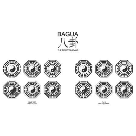 Vector Yin and yang symbol with Bagua Trigrams.Two variant bagua arrangement.