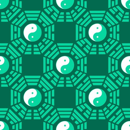Seamless vector pattern with Yin and yang symbol with Bagua Trigrams Ilustração