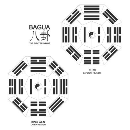 Vector Yin and yang symbol with Bagua Trigrams.Two variant bagua arrangement
