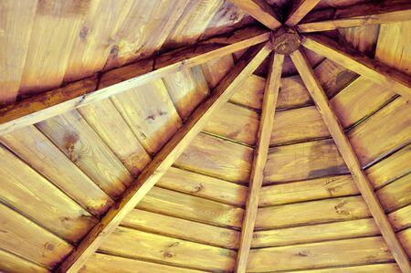 roof of a wooden gazebo from the inside