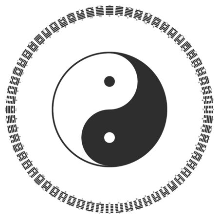 Vector Yin and Yang symbol with Diagram of I Ching hexagrams Ilustração