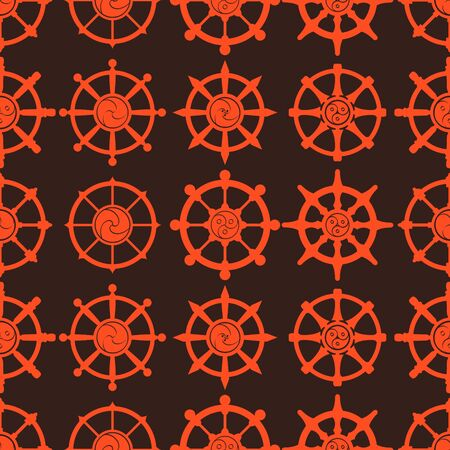 Seamless vector pattern with Indian religion symbol Dharmachakra