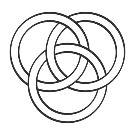 vector monochrome icon with Borromean rings Ilustración de vector