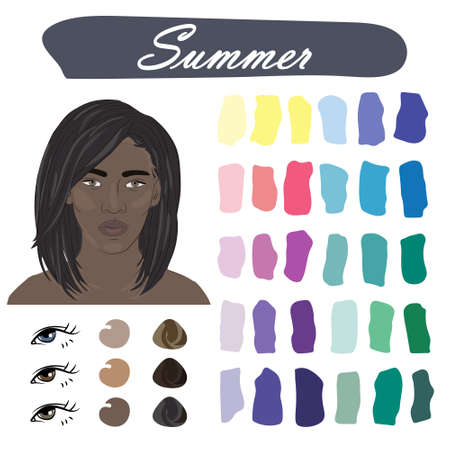 Stock vector color guide. Seasonal color analysis palette for summer type of female appearance. Face of young african american woman Stock Illustratie