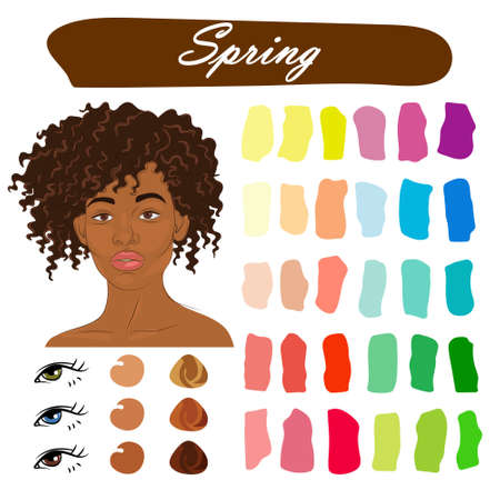 Stock vector color guide. Seasonal color analysis palette for spring type of female appearance. Face of young african american woman