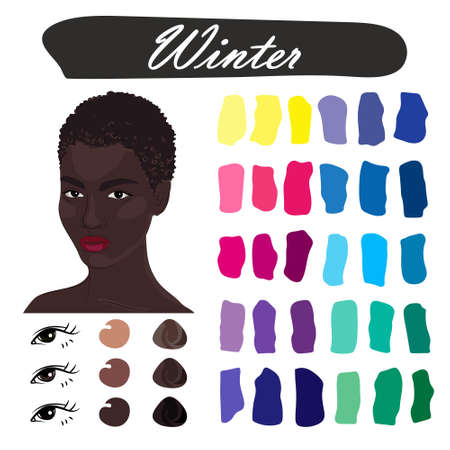 Stock vector color guide. Seasonal color analysis palette for winter type of female appearance. Face of young african american woman