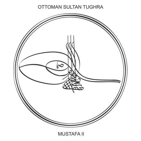 vector image with Tughra a signature of Ottoman Sultan Ahmed the third