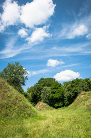 Fantastic landscape with meadow and beautiful hills covered with lush green grass Imagens