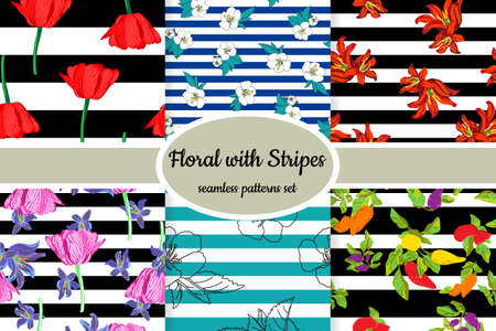 Collection of seamless floral patterns with stripes designed for web, fabric, paper and all prints