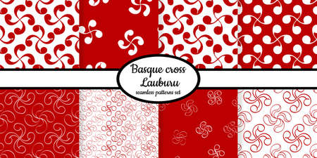 Collection of seamless patterns with Basque cross Lauburu designed for web, fabric, paper and all prints
