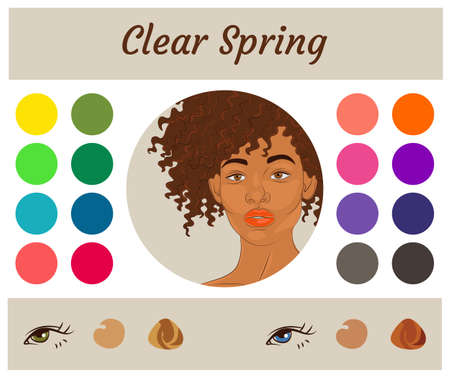 Stock vector seasonal color analysis palette for clear spring. Best colors for clear spring type of female appearance. Face of young african american woman 向量圖像