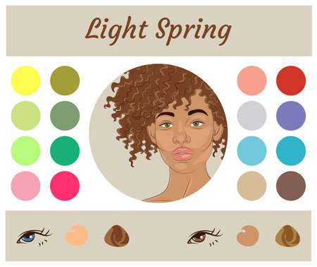 Stock vector seasonal color analysis palette for light spring. Best colors for light spring type of female appearance. Face of young african american woman