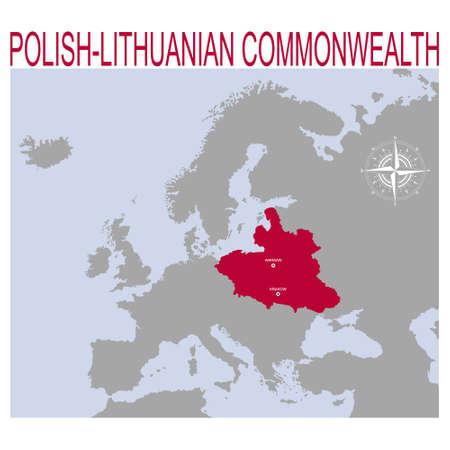 vector map of the Polish – Lithuanian Commonwealth Illusztráció