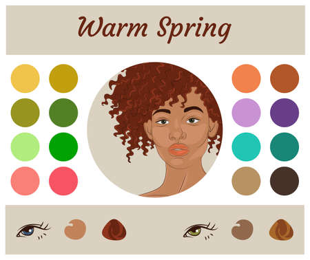 Stock vector seasonal color analysis palette for warm spring. Best colors for warm spring type of female appearance. Face of young african american woman