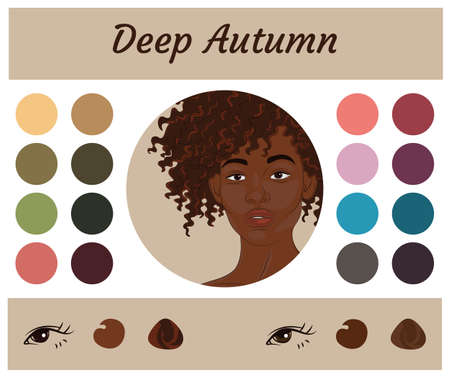 Stock vector seasonal color analysis palette for deep autumn. Best colors for deep autumn type of female appearance. Face of young african american woman