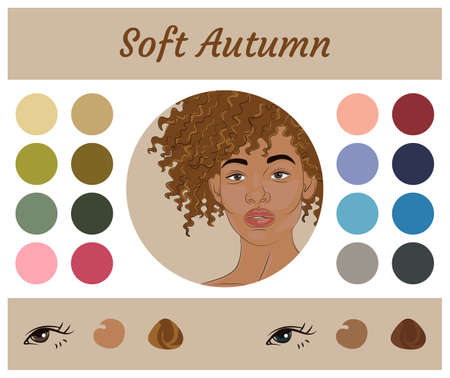 Stock vector seasonal color analysis palette for soft autumn. Best colors for soft autumn type of female appearance. Face of young african american woman