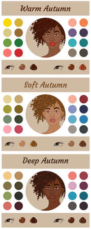 Stock vector seasonal color analysis palettes for autumn type of female appearance. Best colors for warm, soft and deep autumn. Face of young african american woman Ilustração