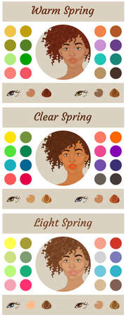 Stock vector seasonal color analysis palettes for spring type of female appearance. Best colors for warm, clear and light spring. Face of young african american woman