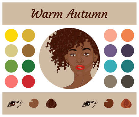 Stock vector seasonal color analysis palette for warm autumn. Best colors for warm autumn type of female appearance. Face of young african american woman