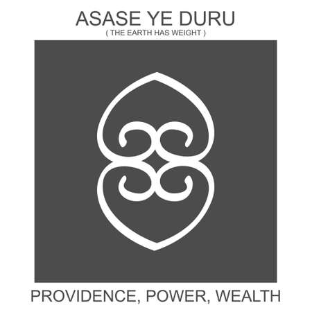 vector icon with african adinkra symbol Asase Ye Duru. Symbol of power and wealth