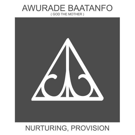 vector icon with african adinkra symbol Awurade Baatanfo. Symbol of nurturing and provision