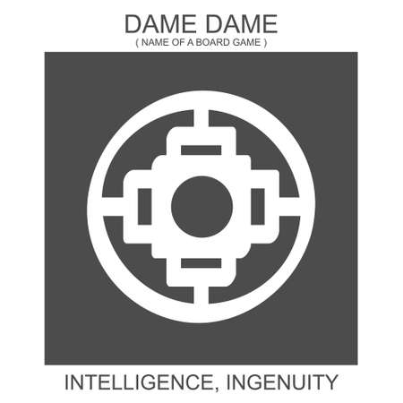 vector icon with african adinkra symbol Dame Dame. Symbol of Intelligence and Ingenuity 向量圖像