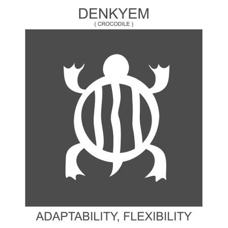 vector icon with african adinkra symbol Denkyem. Symbol of adaptability and flexibility 向量圖像