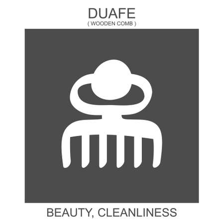 vector icon with african adinkra symbol Duafe. Symbol of beauty and cleanliness