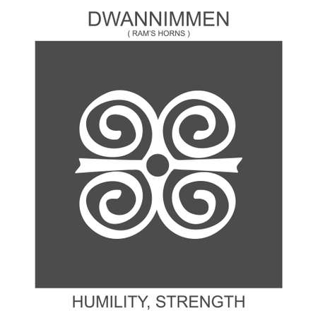 vector icon with african adinkra symbol Dwannimmen. Symbol of humility and strength