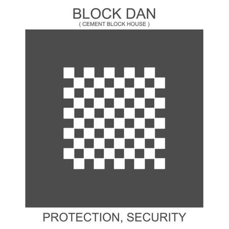 vector icon with african adinkra symbol Block Dan. Symbol of protection and security 向量圖像