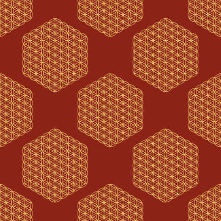 Seamless pattern with ancient symbol flower of life