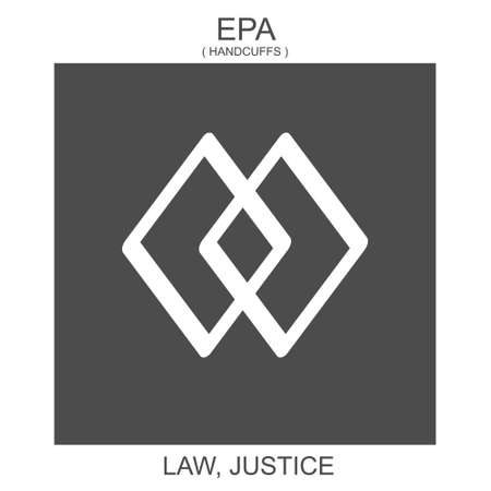 vector icon with african adinkra symbol Epa. Symbol of law and justice
