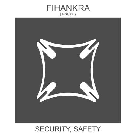 vector icon with african adinkra symbol Fihankra. Symbol of security and safety 向量圖像