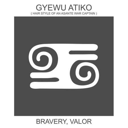 vector icon with african adinkra symbol Gyewu Atiko. Symbol of bravery and valor 向量圖像