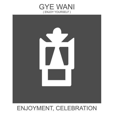 vector icon with african adinkra symbol Gye Wani. Symbol of enjoyment and celebration 向量圖像