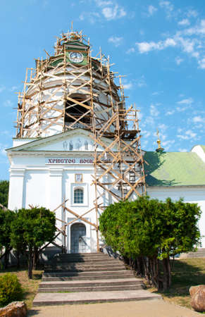 Restoration of the Orthodox Church. Wooden scaffolding. Quality image for your project