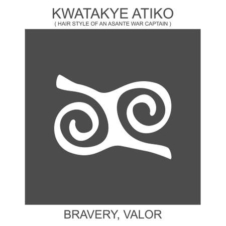 vector icon with african adinkra symbol Kwatakye Atiko. Symbol of bravery and valor 向量圖像