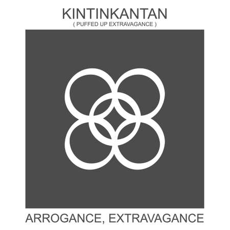 vector icon with african adinkra symbol Kintinkantan. Symbol of arrogance and extravagance