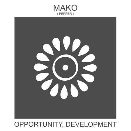 vector icon with african adinkra symbol Mako. Symbol of opportunity and development