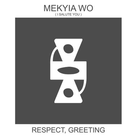vector icon with african adinkra symbol Mekyia Wo. Symbol of respect and greeting
