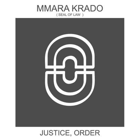 vector icon with african adinkra symbol Mmara Krado. Symbol of justice and order