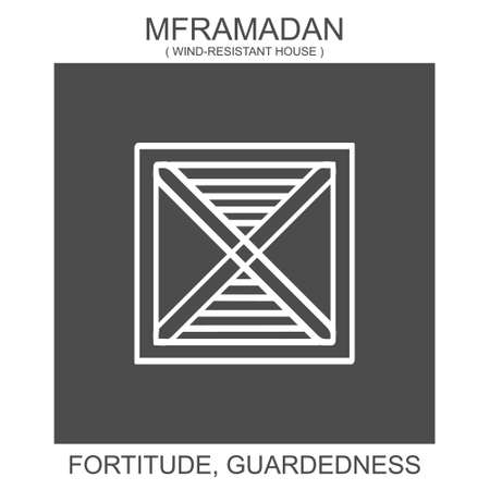 vector icon with african adinkra symbol Mframadan. Symbol of fortitude and guardedness