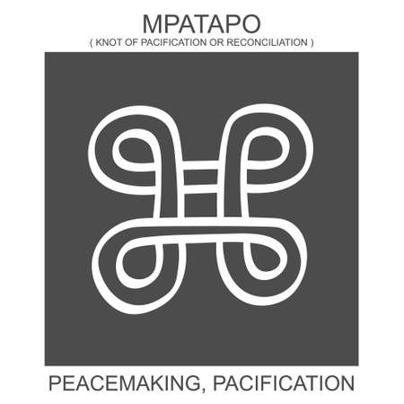 vector icon with african adinkra symbol Mpatapo. Symbol of peacemaking and pacification