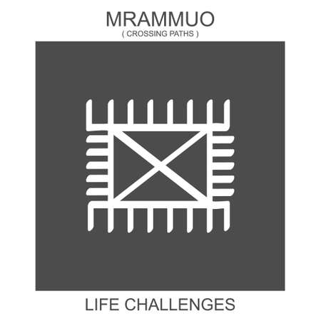 vector icon with african adinkra symbol Mrammuo. Symbol of life challenges
