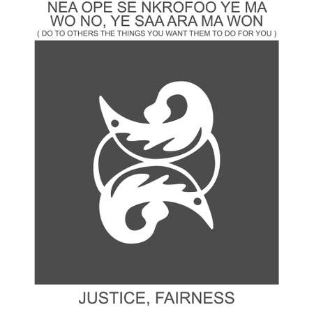 vector icon with african adinkra symbol Nea Ope Se Nkrofoo. Symbol of justice and self fairness