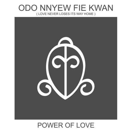 vector icon with african adinkra symbol Odo Nnyew Fie Kwan. Symbol of power of love