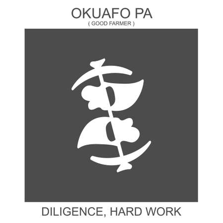 Vector icon with african adinkra symbol Okuafo Pa. Symbol of diligence and hard work