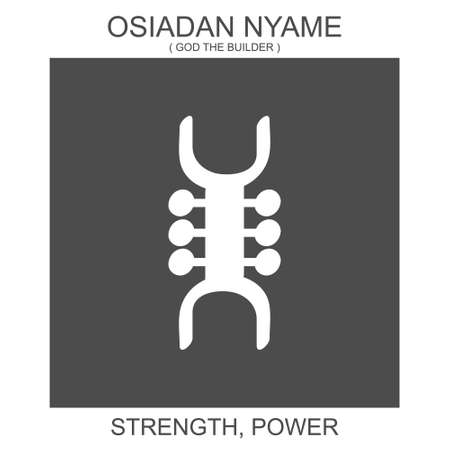 Vector icon with african adinkra symbol Osiadan Nyame. Symbol of strength and power 일러스트